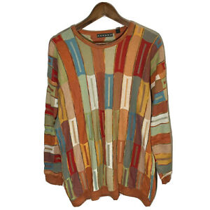 Vtg Tundra Coogi Style Sweater Crewneck Pullover Sweatshirt Biggie 3D Stripes XL