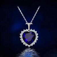 Ocean Herz Kristall Anhänger Halskette Schmuck Herzkette Kette Geschenke