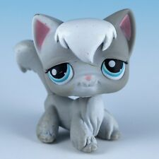 Littlest Pet Shop Longhair Cat #345 Gray With Blue Eyes