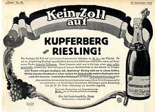 Kein Zoll auf Kupferberg Riesling Historische Annonce 1913