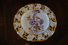 GREAT OLD GERMAN LARGE RETICULATED SCALLOPED WALL CABINET FLOWER DECORATED PLATE