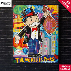 Alec Monopoly The World is Yours Canvas Poster (60x75cm/24x30in) Graffiti Art
