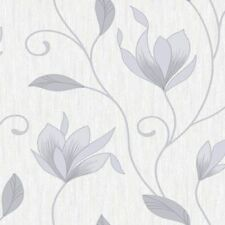 Dove Grey / Silver Glitter - M0852 - Synergy Floral Textured Vymura Wallpaper!