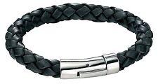 """& Woven Genuine Black Leather Bracelet Fred Bennett 8.75"""" Men's Stainless Steel"""