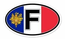 "France Flag F Coat of Arms Flag Oval car window bumper sticker decal 5"" x 3"""