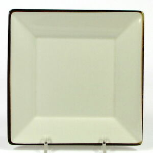 """Pottery Barn ASIAN SQUARE - PUTTY 6"""" Dessert Plate Tan Natural Brown Trim Japan"""