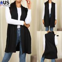 Womens Open Vest Shawl Collar Draped Sleeveless Cardigan Casual Long Tunic Tops