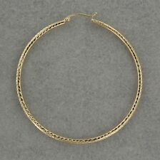 14K Yellow Gold Diamond-Cut Hoop Earring Large Size. Hollow. Gift