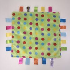 VGUC Taggies Green With Multi-colored Polka Dots Security Blanket Lovey Lovie