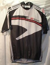 Sugoi White/Black Cycling Bike Jersey Polyester Shirt 3/4 Zip Mens Size Large
