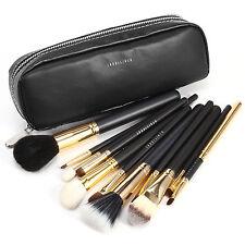 Fraulein3°8 Pro trousse zip 12 pinceaux de maquillage cosmetique poil naturel