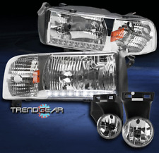 1994-2001 DODGE RAM PICKUP DRL LED CHROME CRYSTAL HEAD LIGHTS LAMP W/DRIVING FOG