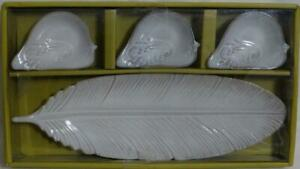 Pier 1 Leaf Condiment Relish Tray Dish Off White Stoneware Set of 4 Pieces