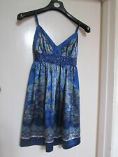 Shiny Blue & Silver Paisley Mini Dress by New Look in Size 10