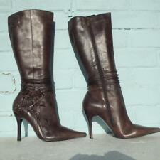 River Island Brown Leather Boots Size Uk 7 Eur 40 Womens Stitched Flowers  Boots