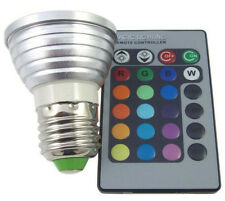 2x 3W E27 16 Color Changing RGB LED Light Bulb+IR Remote Control Party Decor US