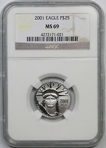 2001 Statue of Liberty Quarter-Ounce Platinum Eagle $25 MS 69 NGC 1/4 oz