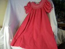 MOM & ME Girls Pink Corduroy Smocked Pearl Bishop Dress sz 4