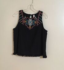 Xhilaration Black Large Sleeveless Embroidered Top