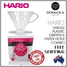 HARIO V60-02 Cup Brewer Combo Plastic Dripper Pour Over Coffee 100 Cone Filters