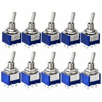 🌏 10Pcs MTS-202 6A 125V AC 6 Pins 6mm DPDT ON-ON Mini Toggle Switch Switches*