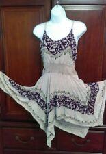 Vintage Fairy Hem Flowy rayon hippie festival tunic top shirt or mini dress S/M