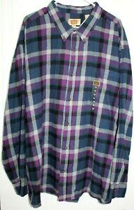 NWT $40 FOUNDRY Big & Tall Flannel Shirt Men's 4XL Multicolor Plaid 100% Cotton