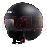 Casco Helmet Moto Jet LS2 OF599 SPITFIRE SOLID - matt black con visiera parasole