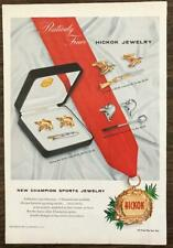 1957 Hickok Jewelry Holiday Print Ad Fishing Hunting Golf Cufflinks Tie Clips
