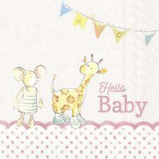 4 Single paper decoupage napkins. New baby girl, baby animals, cute design-566