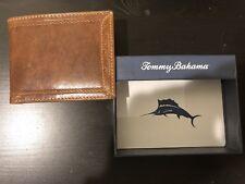 Tommy Bahama Mens Tan Leather Folding Wallet Billfold New In Box Wallet
