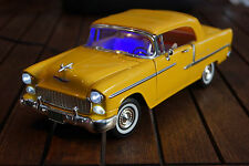 1955 CHEVY BEL AIR 1:18 MIT LED-BELEUCHTUNG(XENON) MOTORMAX GELB CHEVROLET