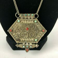 Antique Tibetan Gau Box, Silver with Coral and Turquoise, Necklace
