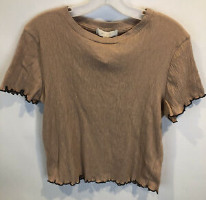 Eri+ali Anthropologie SZ S Tan Black Textured Short Sleeved Shirt NWT