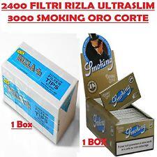 2400 FILTRI RIZLA ULTRASLIM 5,7 mm + 3000 CARTINE SMOKING ORO CORTE DOPPIE