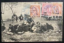 1914 Durres Albania Real Picture Postcard cover RPPC Sc#49 Native Camp
