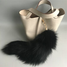"Black - 16""  Large Genuine Real Fox Tail Keyring Key chain Bag Charm Tassle tag"