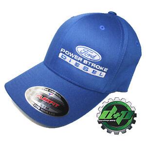 Ford Powerstroke hat ball cap fitted flex fit  flexfit stretch blue s/m