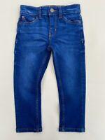 New Next Boys Kids Dark Blue Denim Distressed Skinny Elasticated Waist Jeans