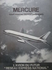 1/1972 PUB AVIONS MARCEL DASSAULT MERCURE AIRCRAFT AIRLINER ORIGINAL FRENCH AD