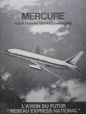 1/1972 PUB AVIONS MARCEL DASSAULT MERCURE AIRCRAFT AIRLINER ORIGINAL FRENCH AD