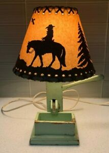 vintage homemade water well pump wood lamp w western style shade works green