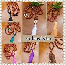 rudrasksha  & agate tassel 109 bead mala pendant necklace