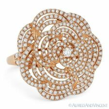 1.48 ct Round Cut Diamond Pave Right-Hand Flower Cocktail Ring in 18k Rose Gold