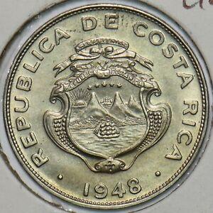 Costa Rica 1948 25 Centimos Gem BU 491308 combine