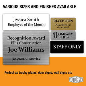 Metal Door Sign - Personalised Trophy Plates (Various Sizes) Office Name Plaque