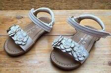 Lovely Girls Summer Sandals/Next/Size 4/Daisy Design/White/Leather Look