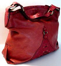 Cole Haan Red Brick Genuine Leather Satchel Hobo Shoulder Purse Bag Handbag