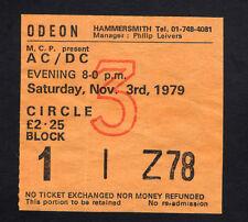 1979 AC/DC Bon Scott Def Leppard concert ticket stub London Highway To Hell 11/3