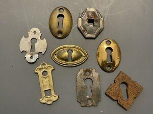 Lot Vintage Victorian Brass Wood Metal Escutcheons Keyhole Covers